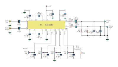 Tone Control Circuit using TDA1524A