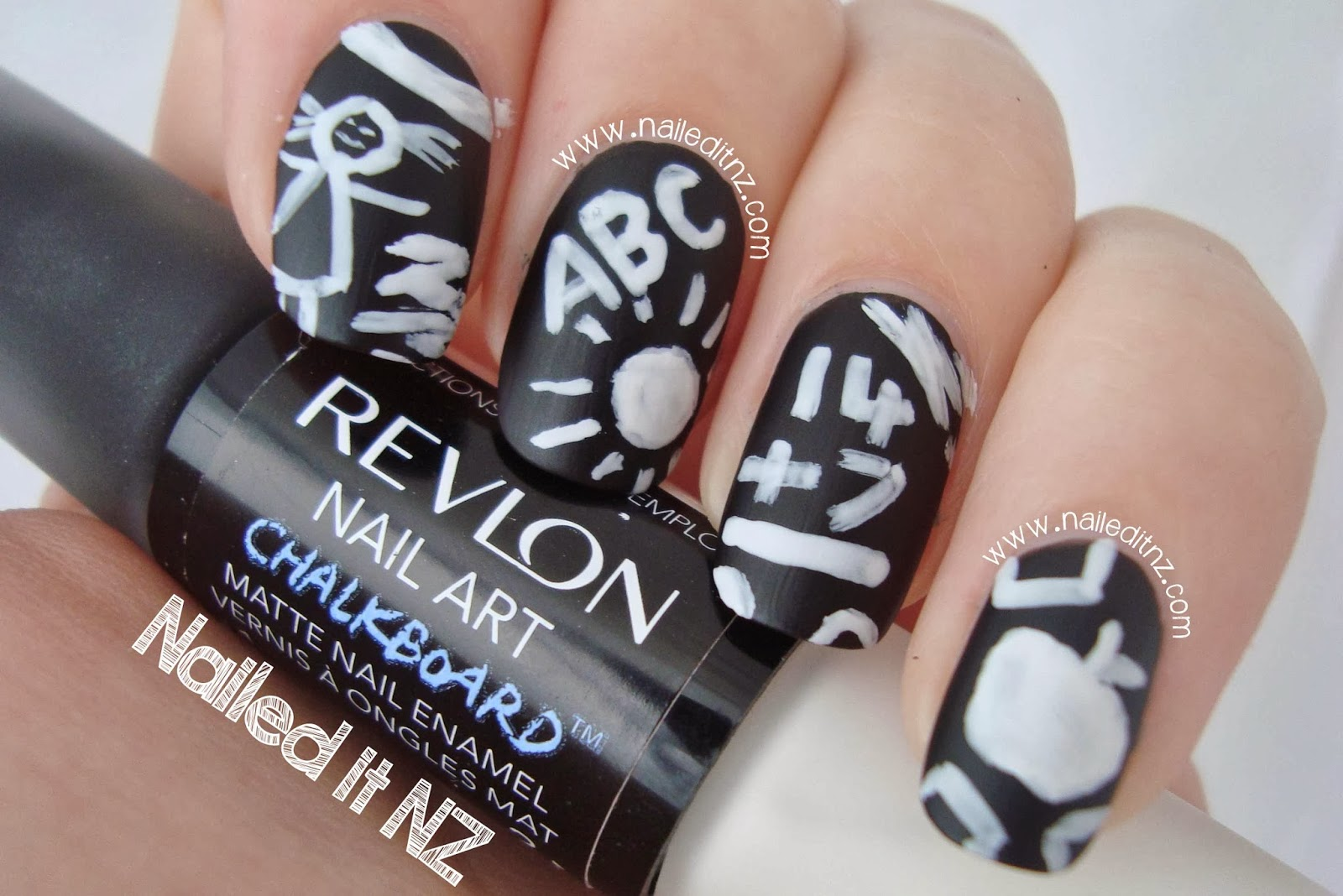Revlon nail art chalkboard nails its really handy having the polish doubled sided one side is black with a normal brush and the other end is white with a thin nail art brush prinsesfo Gallery