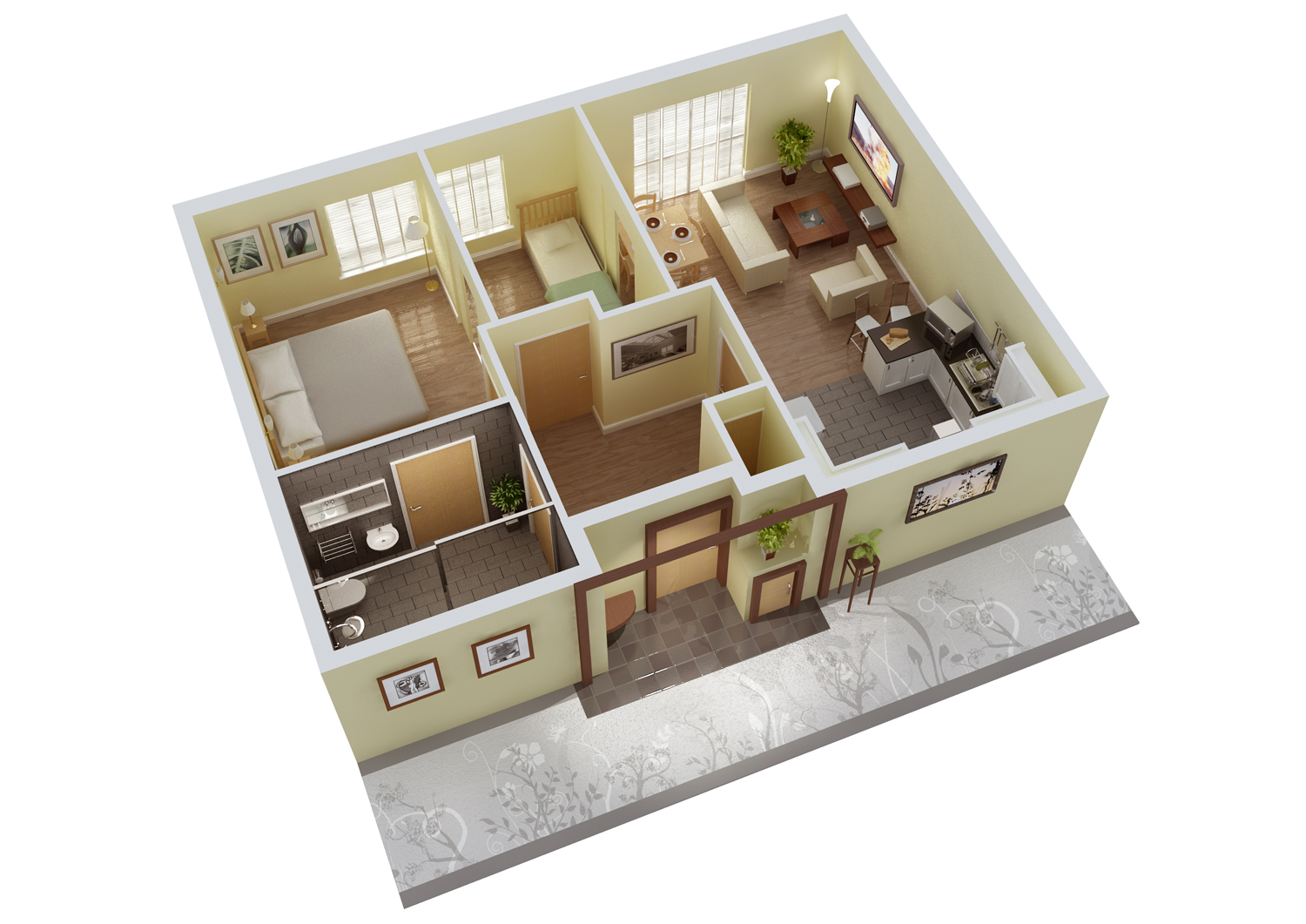 Mathematics resources project 3d floor plan for 2 bedroom house plans 3d
