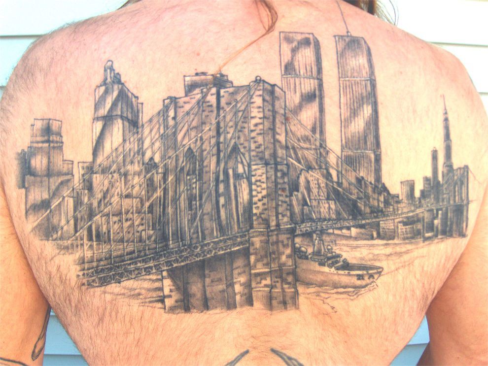 New york city skyline tattoo sleeve by the red parlour tattoo for Tattoo removal in queens