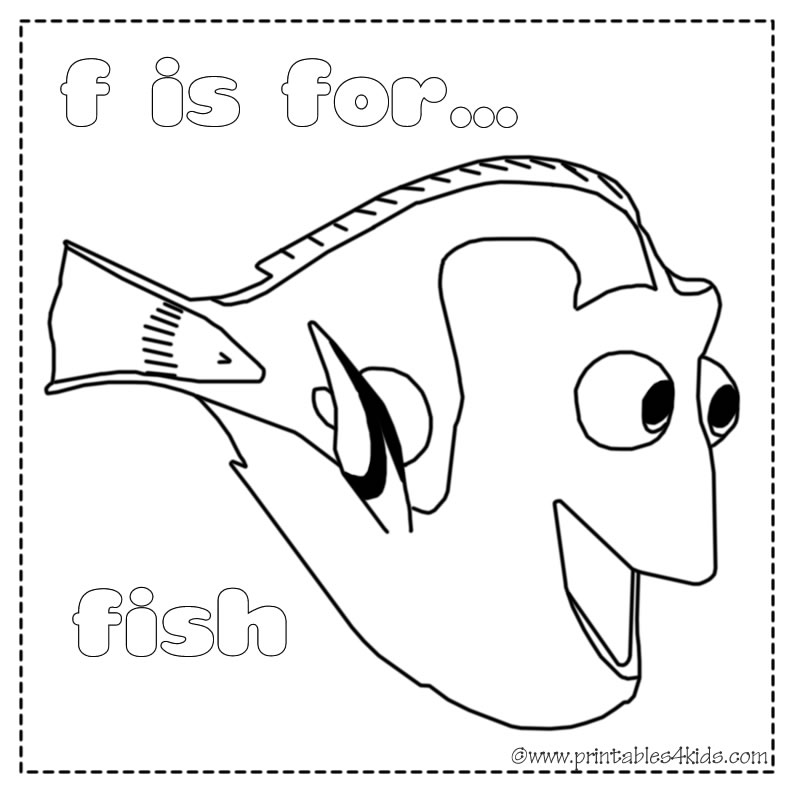 Cartoons Coloring Pages Nemo And Dory Coloring Pages F Is For Fish Coloring Page 2