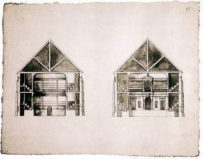 John Webb's drawing, originally thought to be by Inigo Jones, found in Worcester College, Oxford. Could have been the Sam Wanamaker Theatre.