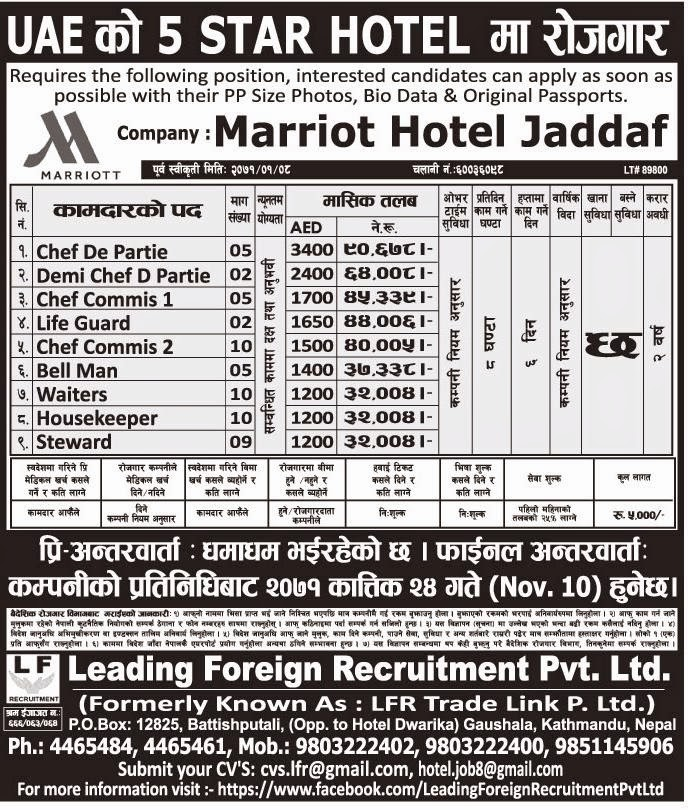 Vacancy In 5 Star Hotel Uae