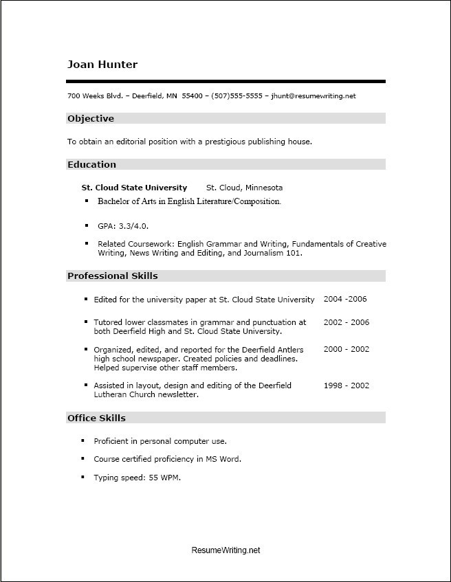 good resume templates for highschool students