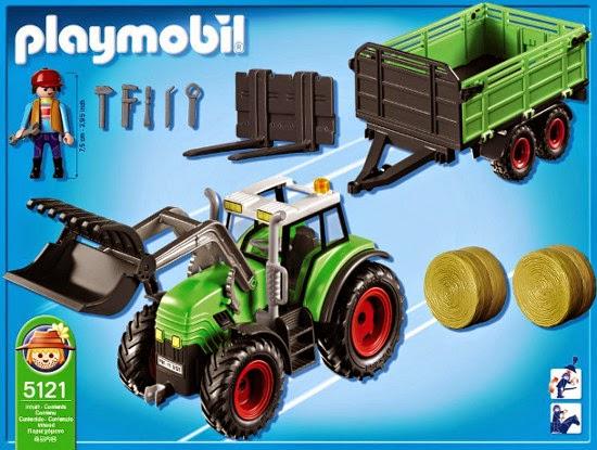 JUGUETES : PLAYMOBIL : Granja 5121 Tractor con tráiler Producto Oficial   Edad: 4-10 años