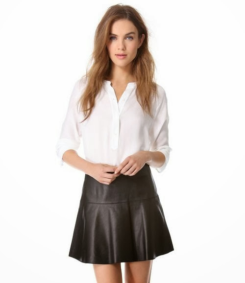 White shirt with leather skirt