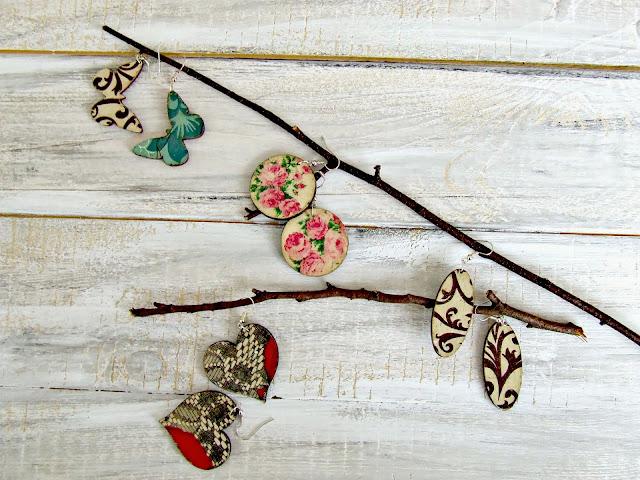 biżuteria ręcznie robiona kolczyki decoupage Eco Manufaktura