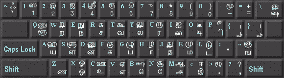 TAMIL TYPE WRITER KEY BOARD LAYOUT