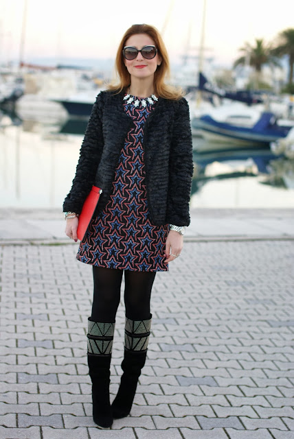 Zara starry print dress, fake fur jacket, Cesare Paciotti studded boots, rockstar look, Fashion and Cookies, fashion blogger