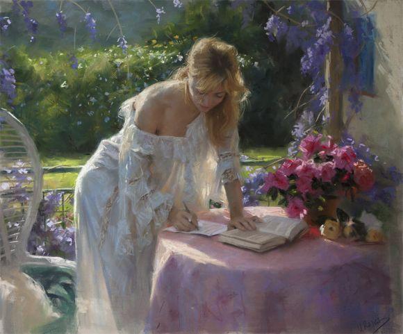 Vicente Romero pinturas mulheres impressionistas beleza Uma manhã ensolarada em companhia de livros