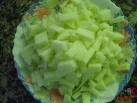 Bizcocho de manzana-manzana troceada