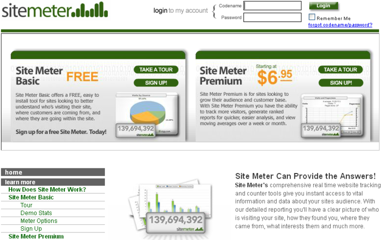 Sitemeter Web Analytics tool