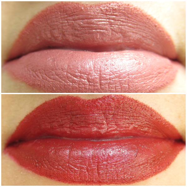 p2 Here I am - Beauty Amazon Lipsticks Swatches von 010 dynamic rosewood und 030 strong russet