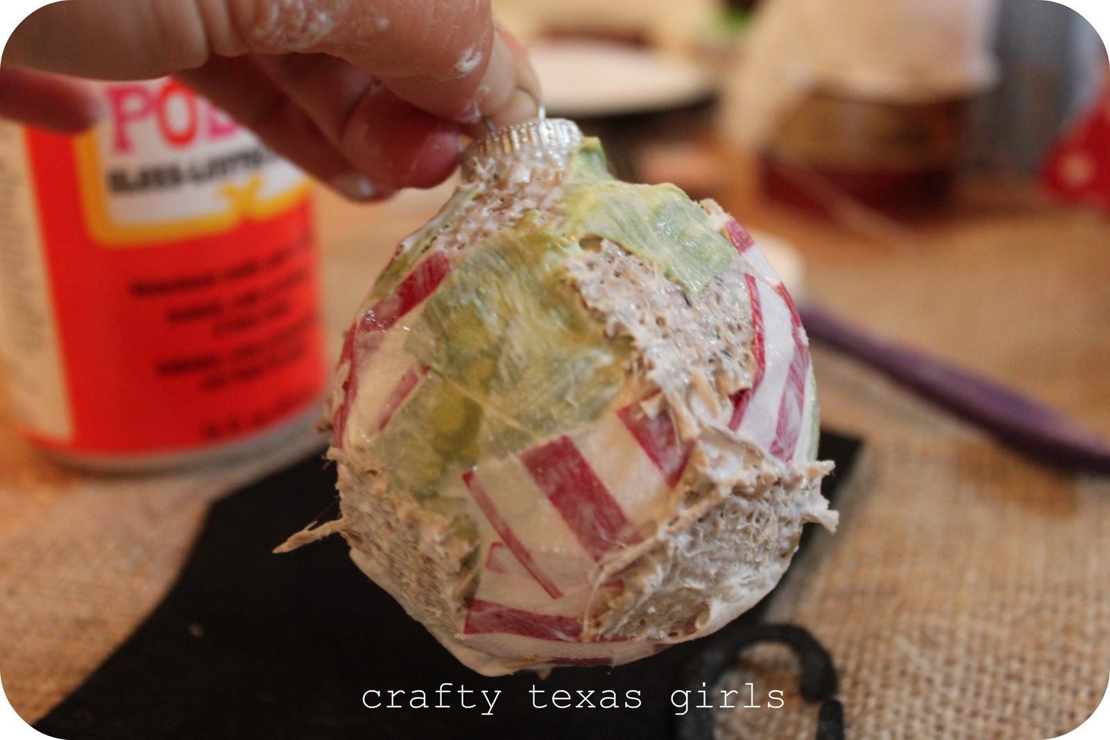 Crafty Texas Girls: Crafty How To: Shabby Chic Mod Podge Ornaments