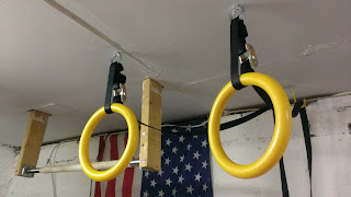 pair of gymnastic rings for exercise hanging from ceiling