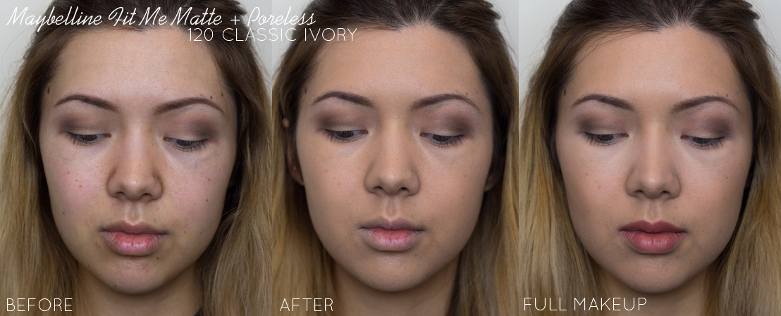 maybelline fit me foundation matte poreless classic ivory 120 before and after