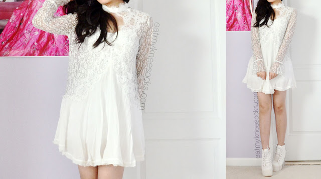 For a romantic springtime look or a fun date, try matching a white lace shift dress, like this Free People dupe from SheInside, with a pair of rocking white booties and romantic curls.