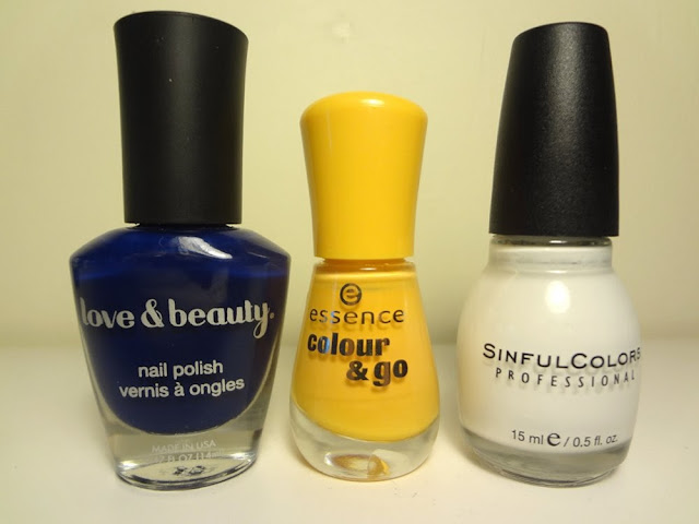 navy blue, mustard yellow, snow me white nail polish