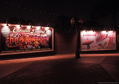 Paradise Pier Billboards Disney California Adventure night