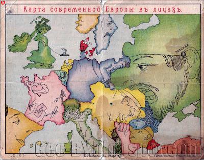 Карта современной Европы въ лицахъ