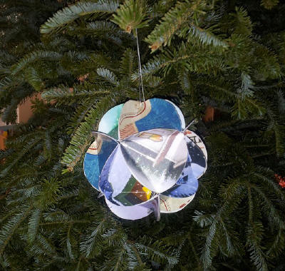 Christmas card ball ornaments