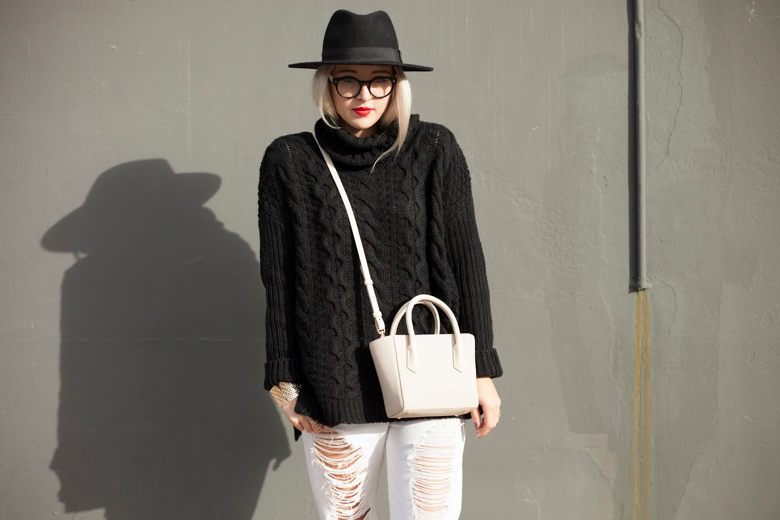 Cotton On sweater, Dange Dover mini tote, studded Rebecca Minkoff Loafers, Red Lips and Blonde Hair! Edgy Boho Style on Bryn Newman of Stone Fox Style