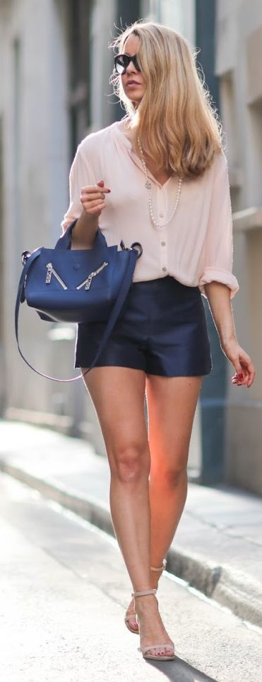 Pardon My Obsession Light Pink And Navy Outfit Idea