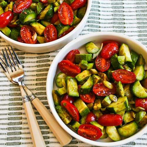 ... Recipe With Cucumbers, Tomatoes, Onions, Avocado, And Balsamic Vinegar