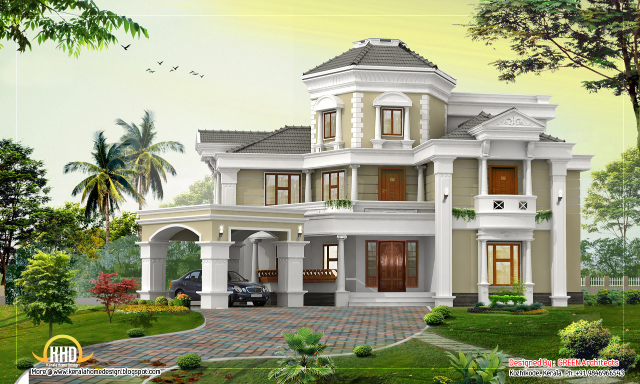 Awesome home design 5167 sq ft kerala home design for Beautiful building plans