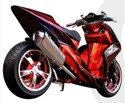 Modifikasi mio soul gt drag 125 ring 17 warna merah hitam putih velg 14 keren