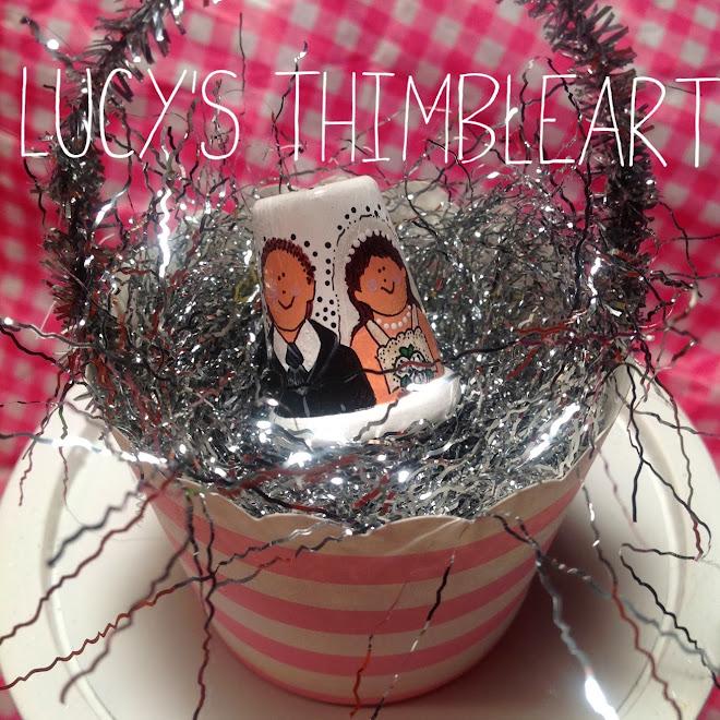 Custom Bride and Groom Thimbleart…$7 each