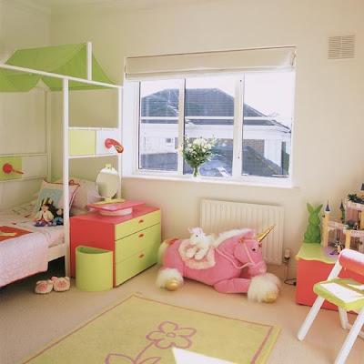 dormitorio para niña rosa verde