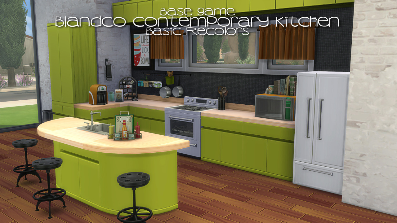 My sims 4 blog blandco contemporary kitchen recolors by for Cc kitchen cabinets