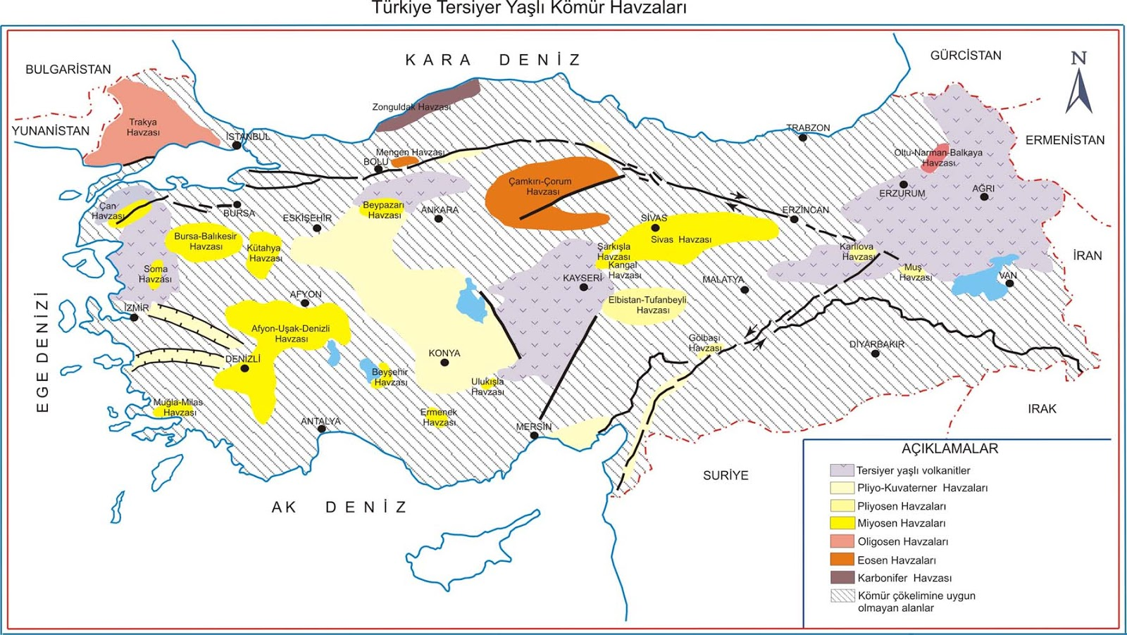 Map Of Turkey Tertiary Coal Basins Turkey Physical Political Maps