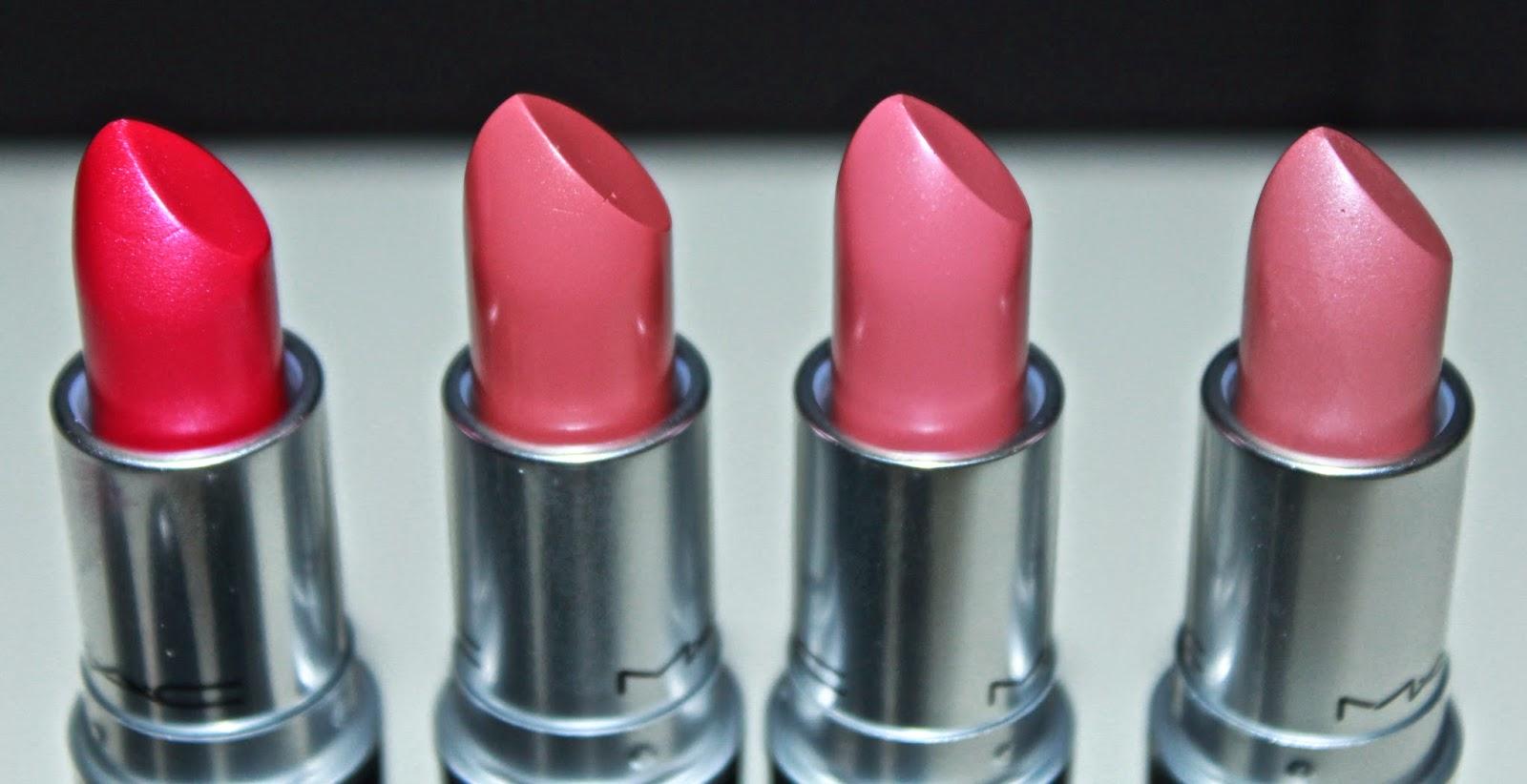 MAC Pink Poodle, Fanfare, Please Me & Angel Lipsticks Close Up