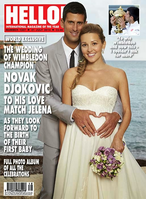 Pregnant Jelena Ristic wears a strapless Alexander McQueen gown for wedding with Novak Djokovic