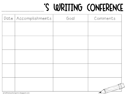 What the teacher wants writing conferences for Data analysis template for teachers