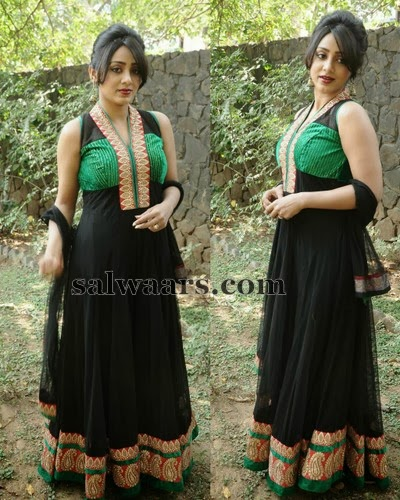 Black Latest Chruidar in Sleeveless