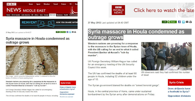 Houla, Syria Stunt Proves: Old Tricks are the Best Tricks BBCcaughtLyingAGAINsyria