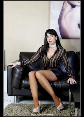 Office Slut in Tan Hose and Leather Minin Skirt