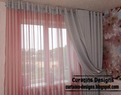eyelet curtains for bedroom, grey and pink curtain designs