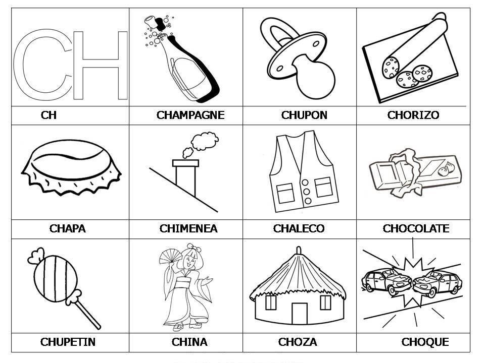 laminas con dibujos para aprender palabras y colorear con letra ch