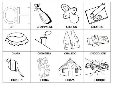 Laminas con dibujos para aprender palabras y colorear con letra: CH
