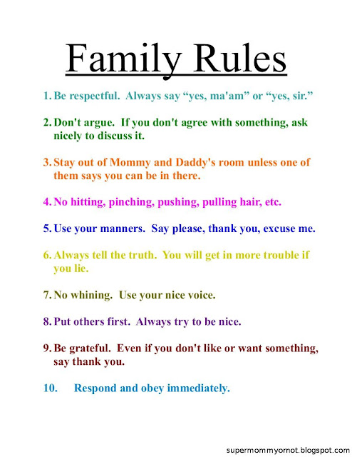 Family rules list