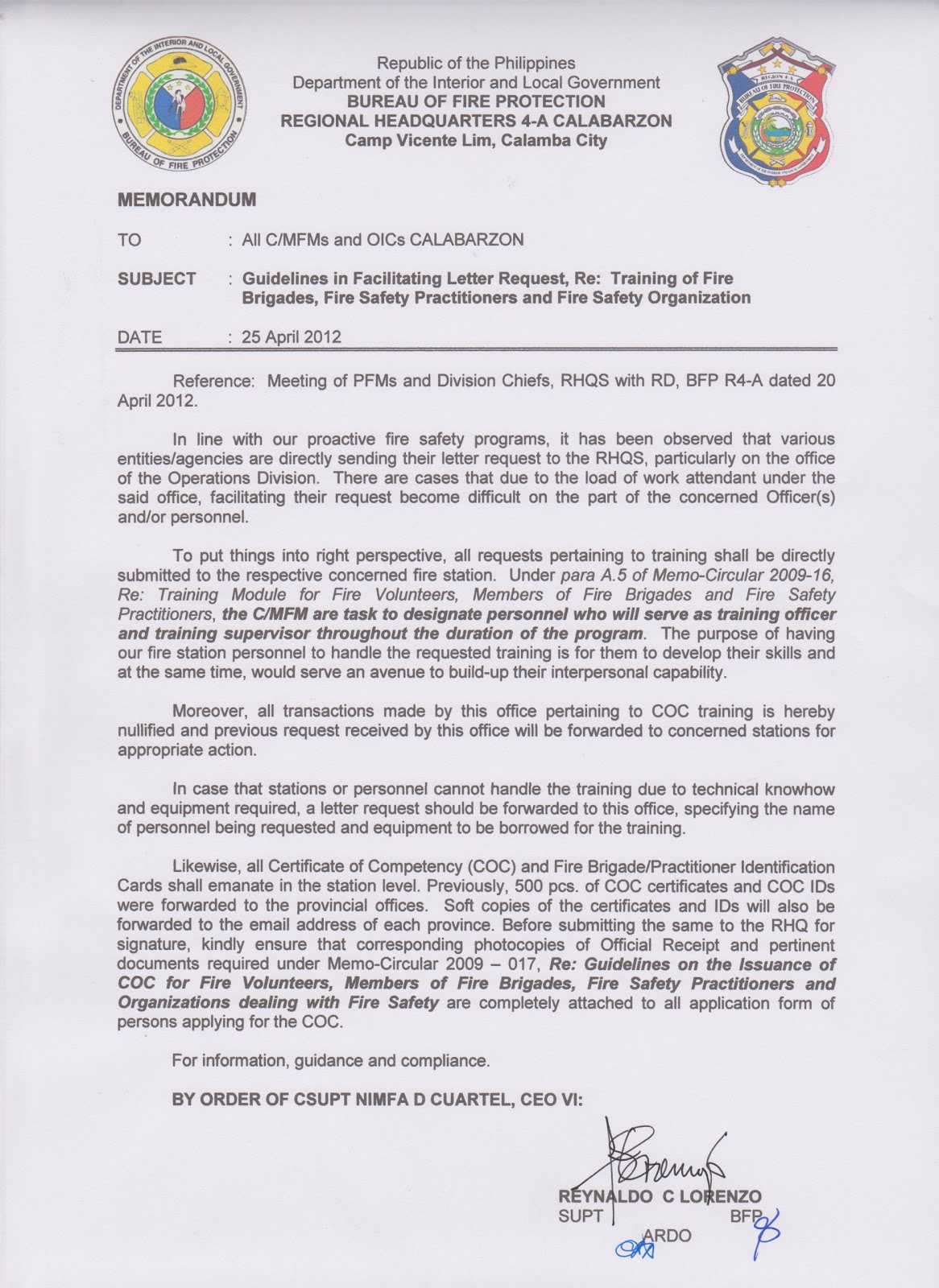 opd batangas archives  memo guidelines in facilitating letter request re training of fire brigades fire safety practitioners and fire safety organization