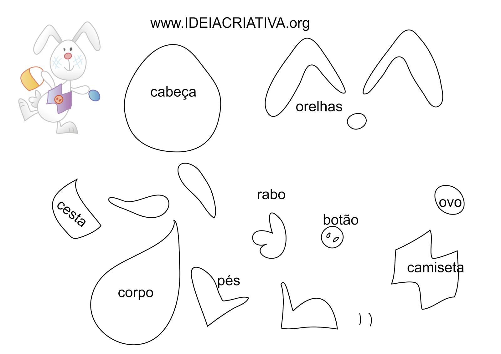 Molde Coelhinho da PÁSCOA com Cestinha e ovos para imprimir grátis