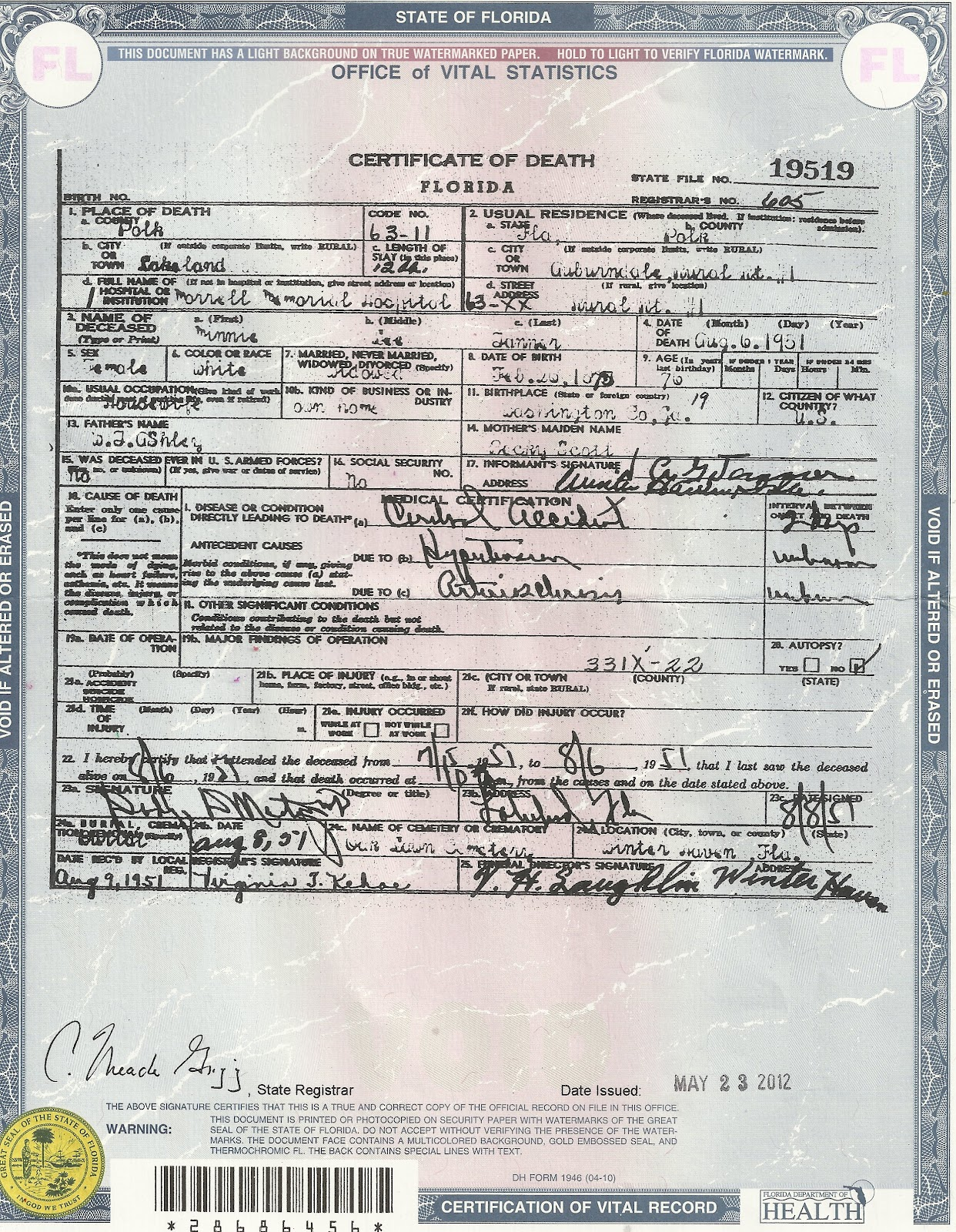 Salabencher Death Certificates For Various Family Members From The