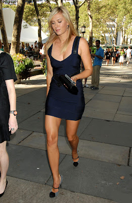 Maria Sharapova in Sexy Blue Party Dress