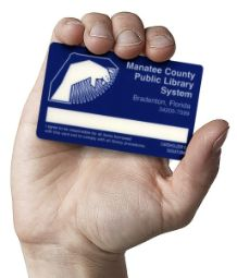 Man holding a blue and white public library card