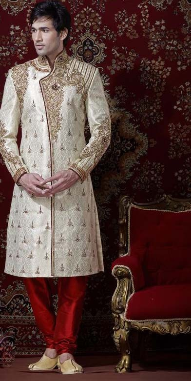 Cream & Red Banarsi Cotton Silk Sherwani With Churidar